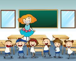 Een leraar en haar studenten vector