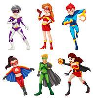 Zes superhelden vector
