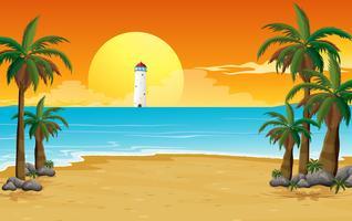 Een rustig strand met een vuurtoren vector