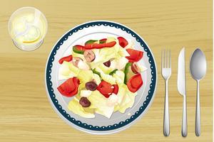 Gegarneerde salade in gerecht