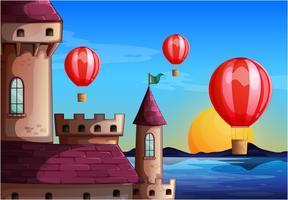 Drijvende ballonnen in de buurt van het kasteel