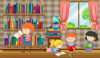 Kinderen lezen van boeken in de bibliotheek vector