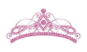 Schitterende diadeem. Roze tiara die op witte achtergrond wordt geïsoleerd.