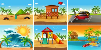 Set van strandtafereel