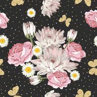 Bloemen naadloos patroon met schitterende vlinders