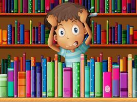 Een gefrustreerde jongeman in de bibliotheek