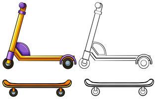 Scooter en skateboard vector