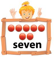 Meisje die nummer zeven banner tonen
