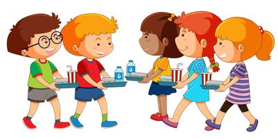 Kinderen met lunch set vector