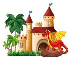 Draak en kasteel vector