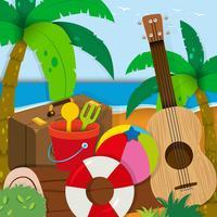 Het thema van de zomer met speelgoed en gitaar