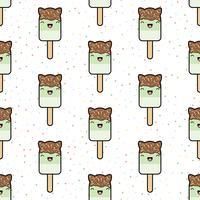Naadloos patroon. schattig kawaii gestileerd ijsje vector