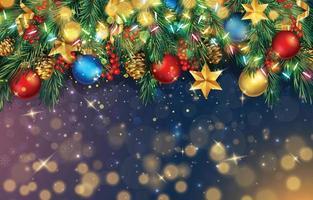 Kerst ornamenten achtergrond met guirlande en kerstballen vector