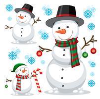 verschillende sneeuwpop op witte sjabloon