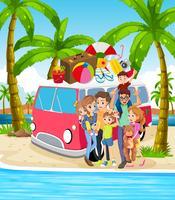 Een gezin op het strand vakantie