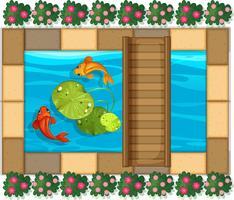 Vijverscène met vissen en waterlelie