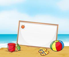 Een ingelijst uithangbord op het strand