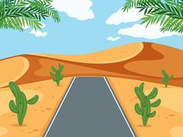 Een weg in de woestijn vector