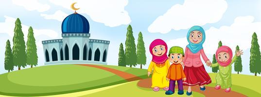 Moslimfamilie voor moskee