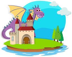 Kasteel en draak op het eiland