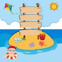 Oceaanscène met jongen het zwemmen vector