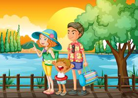Een familie die in de haven staat
