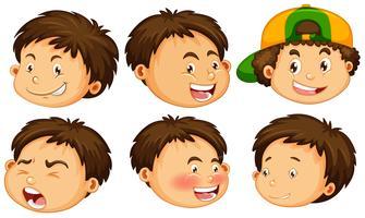 Een jongen met gezichtsuitdrukking vector