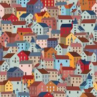 Naadloos patroon met kleurrijke huizen. Stad of gemeente textuur. vector