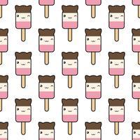 Naadloos patroon. schattig kawaii gestileerd ijsje