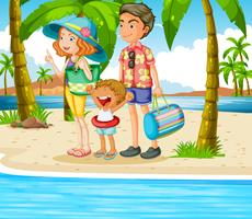 Familie-uitstapje naar het strand vector