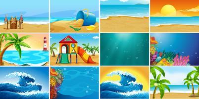 Set van zomer strand achtergrond