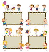 Vier frame-ontwerpen met gelukkige kinderen