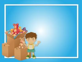 Grensmalplaatje met jongen en speelgoed