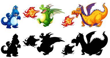 Verschillend ontwerp van dinosaurusreeks