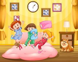 Drie meisjes en huisdierenhond in slaapkamer