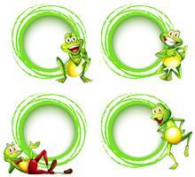 Vier kadermalplaatjes met gelukkige kikkers