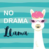 Cute cartoon llama character with No drama llama motiverende citaat