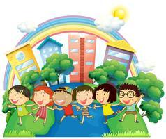 Gelukkige kinderen die in groep lopen vector