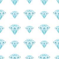 Naadloos patroon van geometrische blauwe diamanten op witte achtergrond. Trendy hipster kristallen ontwerp.