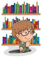 Een man die zich afvraagt in het gat met boeken aan de achterkant
