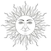 Zon met menselijk gezichtssymbool. Vector illustratie.
