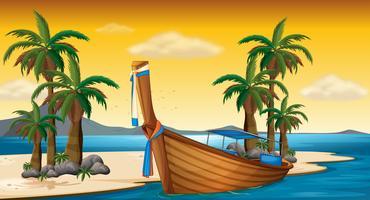Houten boot op de kust