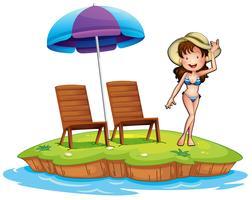 Een eiland met een jong meisje dat zwemt