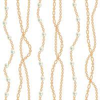 Naadloze patroonachtergrond met peren en kettingen gouden metaalhalsband. Op wit. Vector illustratie