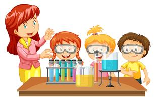 Docent en studenten experimenteren