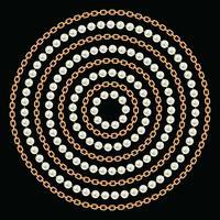 Rond patroon gemaakt met gouden kettingen en parels. Op zwart. Vector illustratie