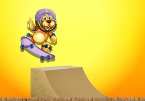 Een leeuw op skatepark vector