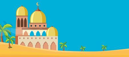 Een moskee in woestijnscène vector