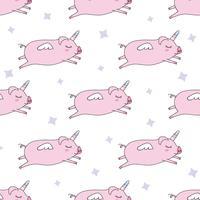 Naadloze patroonachtergrond. Leuk varken als pegasus en eenhoorn. vector