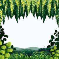 Grensmalplaatje met bomen en bergen